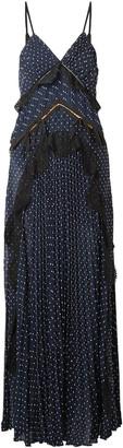 Self-Portrait Cutout Lace-trimmed Pleated Fil Coupe Chiffon Maxi Dress