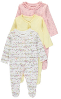 George 3 Pack Assorted Sleepsuits