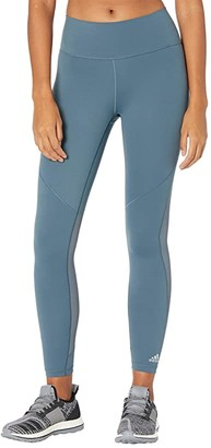 adidas Believe This 3-Stripes Studio Mesh Tights (Legacy Blue/Green Tint) Women's Clothing