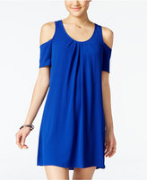 Sequin Hearts Juniors' Lace-Back Cold-Shoulder Dress