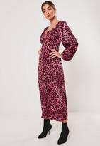 Missguided Pink Leopard Print Milkmaid Midi Dress