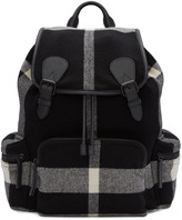 Burberry Black Large Wool Check Rucksack