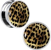 Body Candy Stainless Steel Animal Hang Out Leopard Print Screw Fit Plug Set of 2 18mm