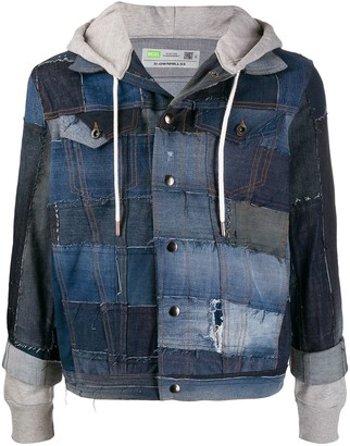 Diesel Upcycled Hooded Patchwork Denim Jacket