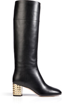 Valentino Leather Tall Boots with Rockstud Heel in Black