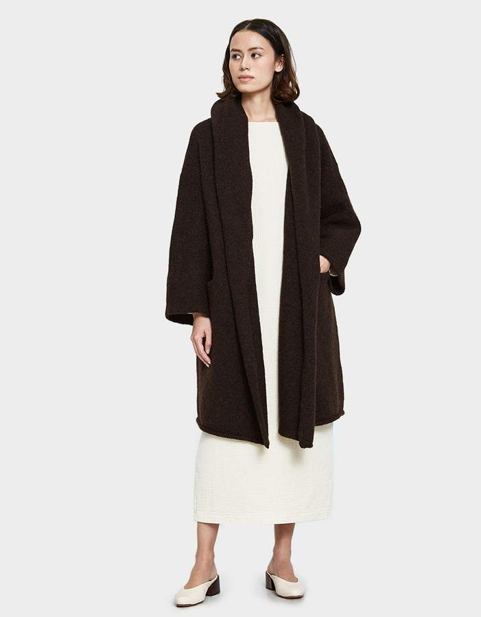 LAUREN MANOOGIAN Capote Shawl Coat in Chocolate