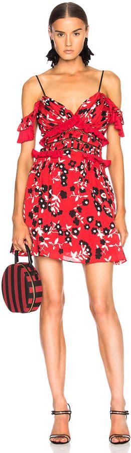 Self-Portrait Self Portrait Cold Shoulder Floral Print Mini Dress