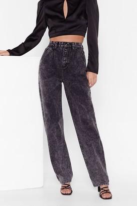 Nasty Gal Womens Acid Wash Your Back Wide-Leg Denim Jeans - Black - 4