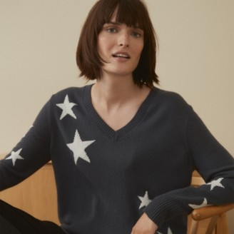 The White Company Star Jumper with Cashmere, Storm Grey, Extra Small