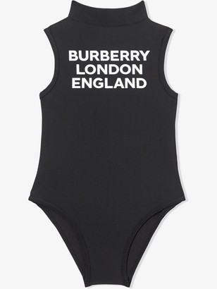BURBERRY KIDS Logo-Print Mock-Neck Swimsuit