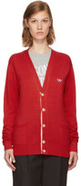 MAISON KITSUNÉ Red Tricolor Fox Patch Cardigan