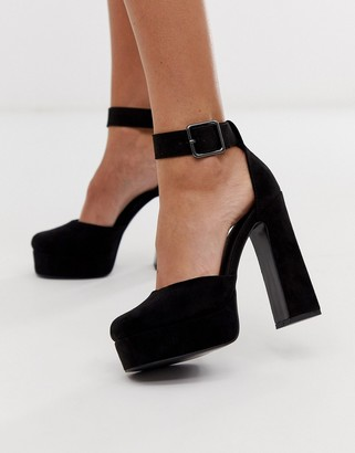 ASOS DESIGN Presta platform high heels in black
