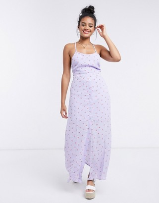 Gilli cami maxi dress with cross back detail in lilac floral