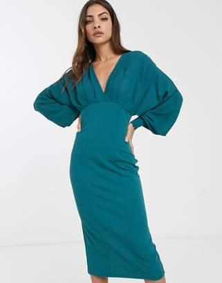Asos Design DESIGN v neck woven mix pencil dress in green-Blue