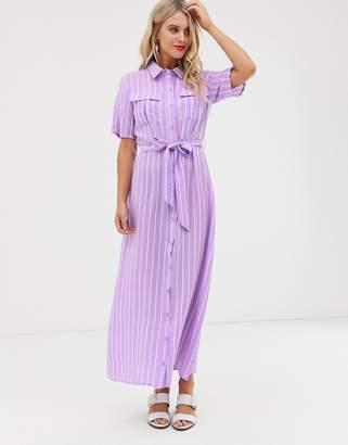 Glamorous midaxi shirt dress with tie waist in stripe-Purple