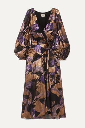 Temperley London Kitty Wrap-effect Metallic Fil Coupe Chiffon Midi Dress - Black