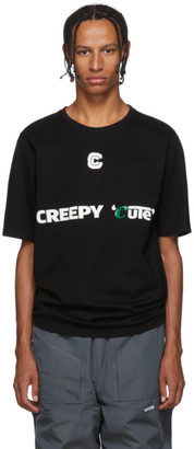 Xander Zhou Black Creepy Cute Jersey T-Shirt