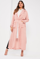 Missguided Plus Size Pink Belted Chiffon Maxi Duster
