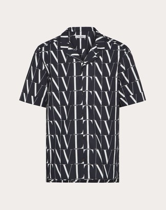 Valentino Vltn Times Print Shirt Man Black/white Cotton 100% 50