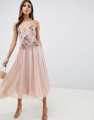 Asos Design DESIGN midi dress with lace and embellished cami top-Pink