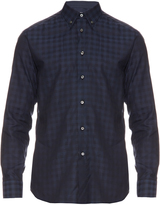 Brioni Navy checked cotton shirt