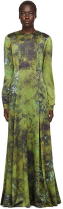 S.R. STUDIO. LA. CA. Green SOTO Silk Long Prairie Dress