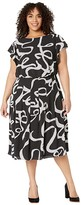 Adrianna Papell Plus Size Dotted Ribbon Blouson Dress (Black Multi) Women's Dress