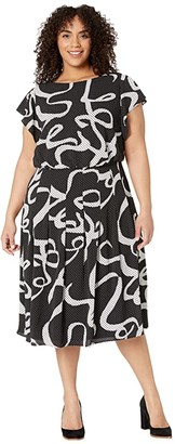 Adrianna Papell Plus Size Dotted Ribbon Blouson Dress (Black Multi) Women's Dress