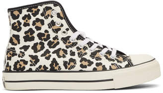 Converse Off-White Lucky Star Hi Leopard Print Sneakers