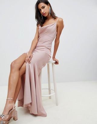Asos Design DESIGN bias cut satin slip maxi dress with drape neck-Pink