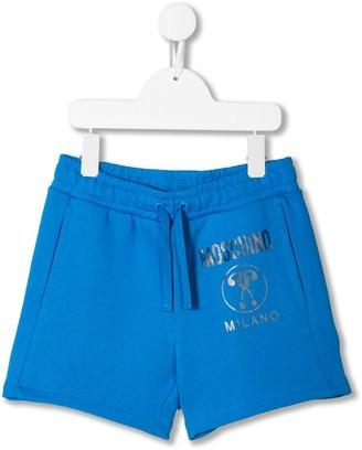 Moschino Kids logo print track shorts