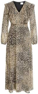 Vila Leopard Printed Polyester Long Sleeved Maxi Dress - 34 | polyester