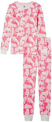 crewcuts by J.Crew Long Sleeve Tiger Sleep Set (Toddler/Little Kids/Big Kids) (Neon Pink/Ivory) Girl's Pajama Sets