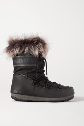 Moon Boot Monaco Faux Fur-trimmed Shell And Faux Leather Snow Boots - Black