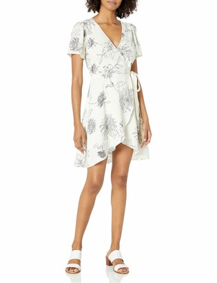 J.o.a. Women's Surplice WRAP Abstract Floral Short Sleeve Flutter Dress
