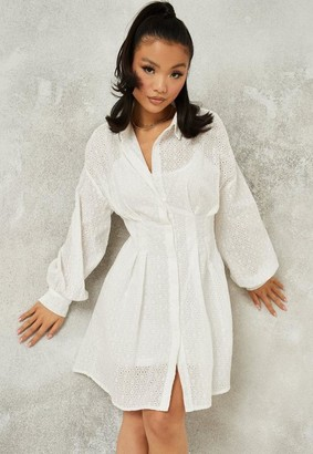 Missguided White Broderie Pleated Waist Shirt Dress