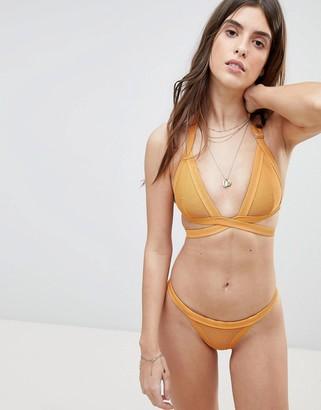 Zulu & Zephyr Ribbed Halter Wrap Bikini Top-Yellow