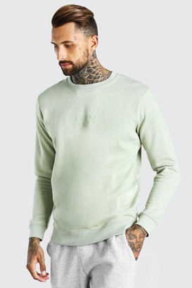 boohoo Mens Green Original MAN Crew Neck Sweatshirt, Green