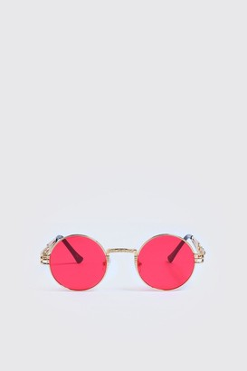 boohoo Mens Red Arm Detail Vintage Sunglasses, Red