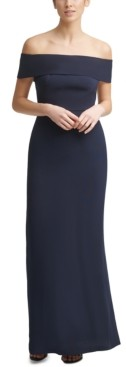 Calvin Klein Off-The-Shoulder Crepe Gown