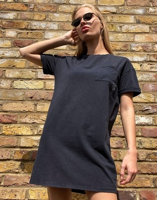 Bershka oversized acid wash t-shirt dress in black