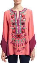Figue Nala Embroidered Silk Tunic, Pink