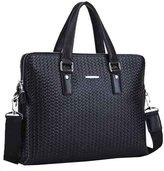 CKL Men's Knitted Pattern Real Cowhide Leather Business Shoulder Bag Casual Messenger Bag Laptop Bag