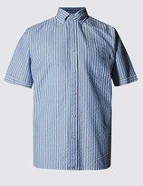 Pure Cotton Seersucker Striped Shirt
