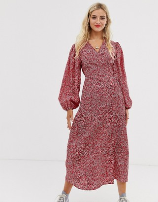 Glamorous midaxi wrap dress in ditsy floral-Red