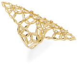Mizuki 14K Yellow Gold & 0.15 Total Ct. Diamond Woven Petal Shield Ring