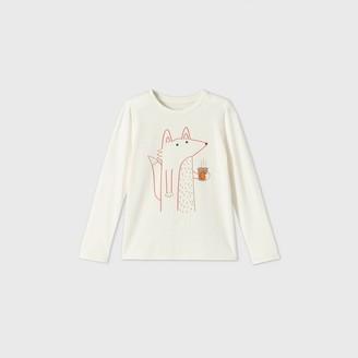 Cat & Jack Girls' Long Sleeve Latte Fox Graphic T-Shirt - Cat & JackTM