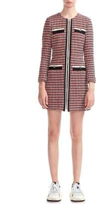 Maje Romane Tweed Long Sleeve Cotton Blend Dress