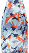 MSGM Printed Silk-Blend Skirt