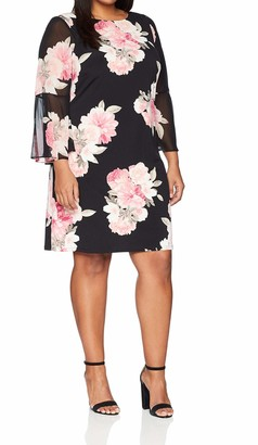Jessica Howard JessicaHoward Women's Plus Size Printed Bell Sleeve Shift